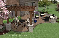 Backyard Brick Patio Design With Grill Station Seating Wall And by Backyard Brick Patio Design With 12 X 12 Pergola Grill Station