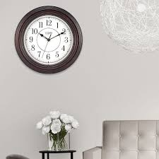 Silent Wall Clock La Crosse Technology 12 In H Round Brown Plastic Wall Clock With