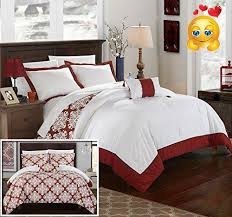 Hotel Collection Duvet King Chic Home 8 Piece Trina Marsala And White Reversible Hotel