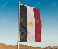 Egypts Flag Waving Vertical Egyptian Flag On Metal Flagpole Stock Photo