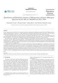 quantitative and qualitative analysis of mitragynine in kratom