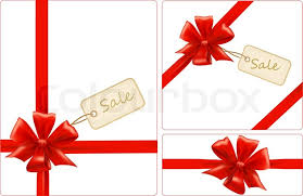 ribbon sale of gift bow with ribbons and sale label vector stock
