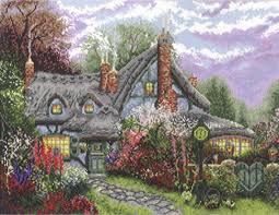 sweetheart cottage cross stitch kit by kinkade