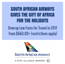 Official Website of the South African Consulate General South African Airways  SAA   the national carrier of South Africa and Africa     s most awarded airline  is offering special fares from the U S  to destinations