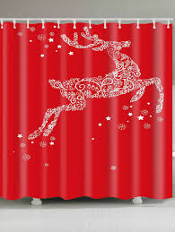 Snowflake Curtains Christmas Christmas Snowflake Elk Pattern Waterproof Shower Curtain Red W