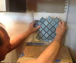 Arabesque Blue Tile Backsplash Using An Adhesive Mat Hometalk - Adhesive kitchen backsplash