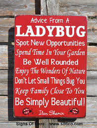 advice from a ladybug wood sign large custom wood sign outdoor