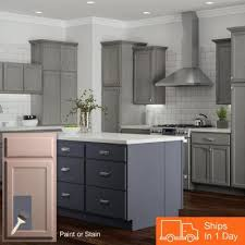 gray brown stained kitchen cabinets 42 or greater kitchen cabinets kitchen the home depot