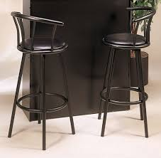 Metal Kitchen Chairs Furniture Metal Swivel Bar Stools With Back With Black Fabric