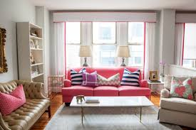 Pink Sectional Sofa Living Room Pink Sectional Sofa With Modern Striped Pillows And