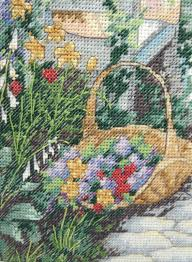 finished framed sunset garden gate flowers 13692 counted cross