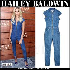 guess jumpsuits hailey baldwin in denim zipper jumpsuit at guess launch on july 27