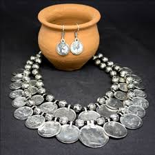 earrings with statement necklace images Bohemian coin statement necklace earring set jpg
