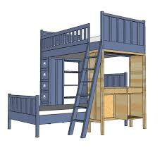 Wood Loft Bed With Desk Plans by Ana White Cabin Bunk System Desk Support Diy Projects
