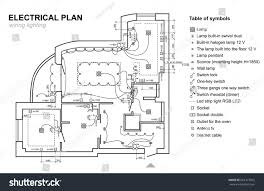 plan wiring lighting electrical schematic interior stock vector