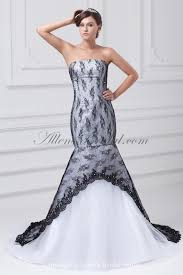 allens bridal satin and lace strapless neckline floor length