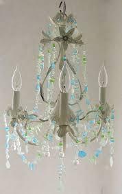 Beachy Chandeliers Sea Glass Lighting Fixture Chandelier Cottage Shabby