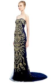 strapless fishtail gown with ornament embroidery by moda operandi