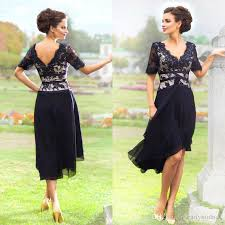2016 tea length mother of the bride dresses dark navy vintage lace
