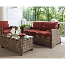 bradenton outdoor wicker loveseat with sangria cushions crosley