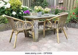 summer garden with garden bench pot geraniums clematis and