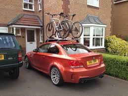 bmw 1 series roof bars 1m with roof rack and bikes