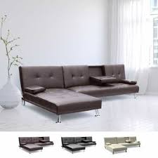canapé d angle clic clac canapé d angle clic clac en faux cuir avec péninsule 3 places zircone