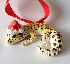 leopard gecko ornament polymer clay painted ready