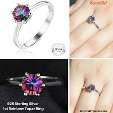 silver topaz rings images 1ct genuine brazilian rainbow fire mystic topaz ring in solid 925 png