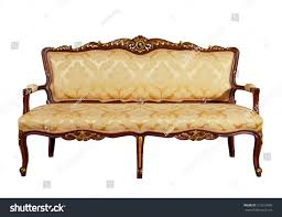 Wooden Frame Couch Luxury Vintage Gold Couch Solid Wood Stock Photo 215314489