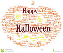 happy halloween word cloud shaped as a pumpkin stock illustration