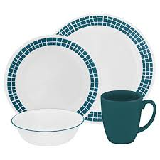target corelle black friday deal 16 piece corelle livingware dinnerware set white aqua