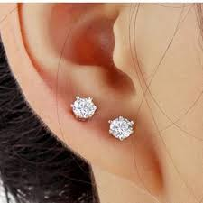 6mm stud earrings women alloy 6mm stud earring white gold plated cubic zirconia