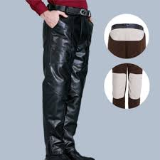 leather motorcycle pants mens pu leather motorcycle biker pants windproof winter thick warm