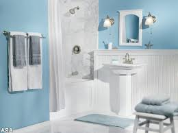 country blue bathroom decor tan white wall sink toile brown