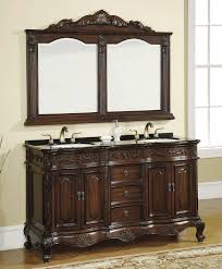 carved wood framed wall bathroom vanity wall mirror with carved mahogany wood