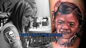 tattoo time lapse tatu baby tattoos black and grey child