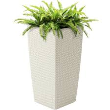 self watering wicker planter white u2013 best choice products