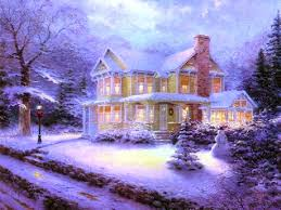 winter victorian christmas snow winter house computer desktop