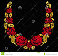 gold red rose necklace images Embroidery flower necklace ornament red rose vintage retro gold jpg