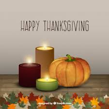 happy thanksgiving background with candles and pumpkin vector