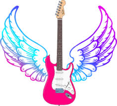 guitar with wings clipart
