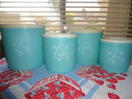 Retro Canisters Kitchen 50s Turquoise Canister Kitchen Set I From My Grandmother