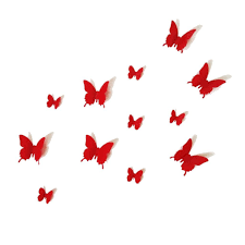 home decor wall art stickers 12pcs 3d red butterfly wall stickers art decal pvc butterflies