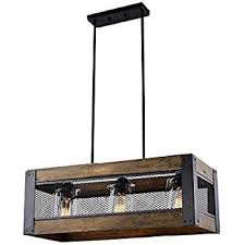 Rectangular Island Light Laluz 3 Light Wood Kitchen Island Lighting Hanging Pendant