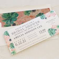 succulent wedding invitations blush succulent customizable bridal shower invites beacon