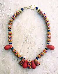 beads necklace images African tribal necklace vintage kiffa necklace trade beads JPG