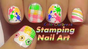 ツstamping nail art designs splash splatter nail art summer