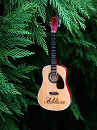 acoustic guitar ornament personalized laser engraving with merry