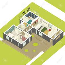 isometric illustration of the house inside interior of a modern